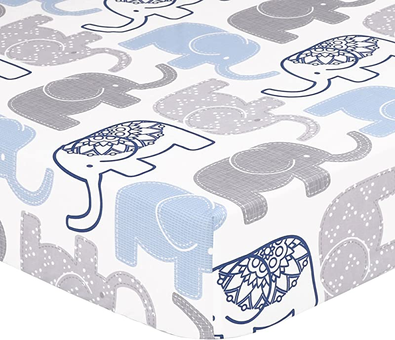 Grey Navy Blue Elephant Print Fitted Crib Sheet 100 Cotton Baby Boy Jungle Animal Theme Nursery And Toddler Bedding