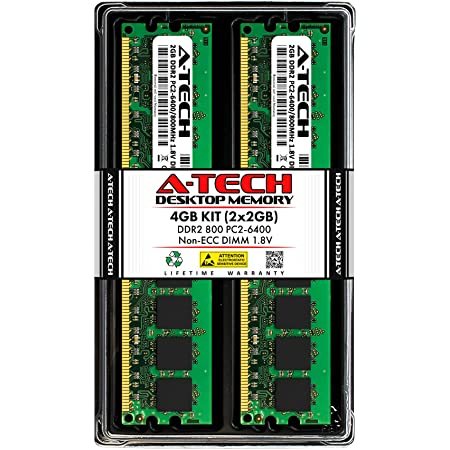 A-Tech 4GB (2x2GB) DDR2 800MHz DIMM PC2-6400 1.8V CL6 240-Pin Non-ECC UDIMM Desktop RAM Memory Upgrade Kit