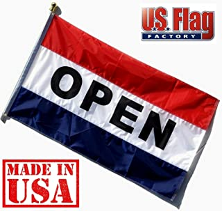 US Flag Factory - 3x5 FT Nylon Open Flag (Sewn Stripes) Outdoor Message Flag - Commercial Grade Business Open Flag - UV Fade Resistant - Made in USA - Premium Quality (Open)
