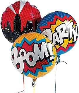 Fun Express Superhero Mylar Balloon Set Comic Party