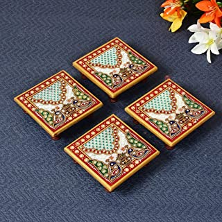 Handicrafts Paradise Marble Pooja Chowki Multicolor 4 x 4 Inch Square Shape Set of 4 Pc