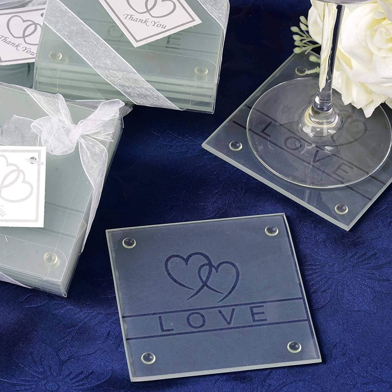 BalsaCircle 60 Heart and Love Glass Wedding Party 市販 - Gif Coasters 買い物