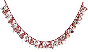 HEITMANN DECO 91564Guirnalda de Calendario de Adviento con Bolsas de Regalo, 180cm de Longitud, plástico, Rojo/Gris, 25x 25x 4cm