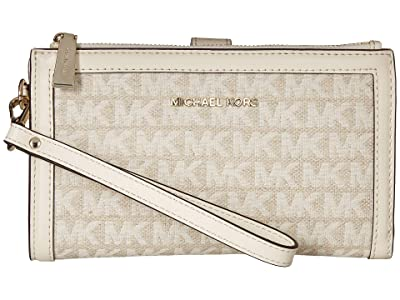 MICHAEL Michael Kors Double Zip Wristlet (Natural/Cream) Wristlet Handbags