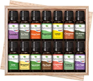 Plant Therapy Top 14 Singles Set | Lavender, Eucalyptus, Peppermint, Orange Sweet, Lemon & More in A Wooden Box | 100% Pure, Undiluted, Natural Aromatherapy, Therapeutic Grade | 10 mL (1/3 oz)