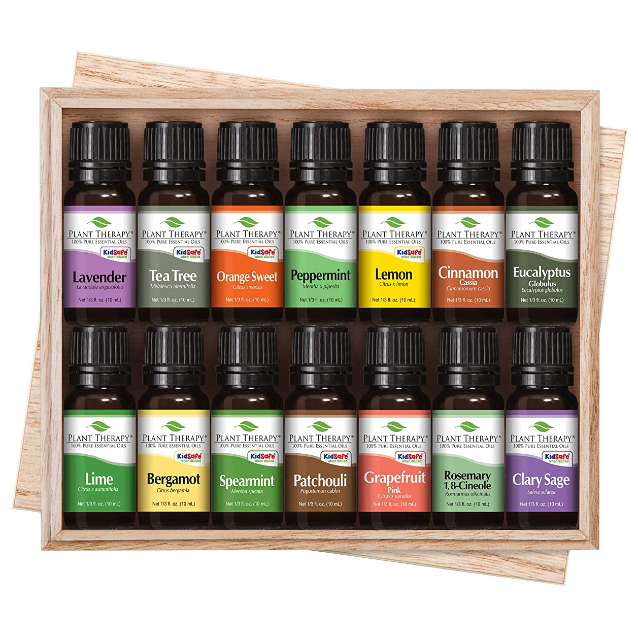 征服フォアタイプロイヤリティTop 14 Essential Oil Set. Includes 100% Pure, Therapeutic Grade Oils of Bergamot, Clary Sage, Cinnamon, Eucalyptus, Grapefruit, Lavender, Lemon, Lime, Patchouli, Peppermint, Rosemary, Spearmint, Orange & Tea Tree. 10 ml each. by Plant Therapy Essential Oils