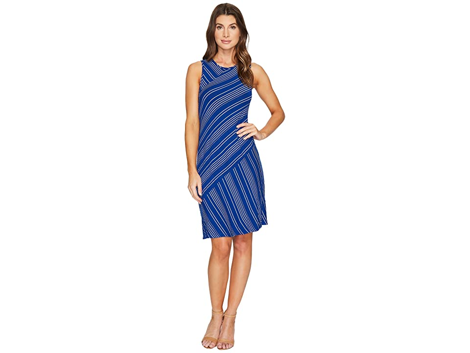 Mod-o-doc Boardwalk Stripe Asymmetrical Seamed Tank Dress (Ocean) Women