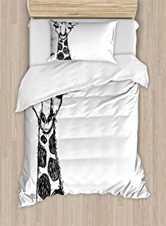 Ambesonne Black and White Duvet Cover Set, Graphic of Safari Giraffe Tall Neck Spots West Wild Character, Decorative 2 Piece Bedding Set with 1 Pillow Sham, Twin Size, Grey White