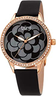 Swarovski Crystal Accented Watch - Beautiful Flower Pattern on Mother of Pearl Dial – Satin Over Genuine Leather Skinny Strap Women's Watch - BUR203