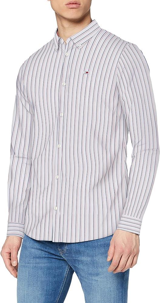 Tommy hilfiger tjm stripe stretch, camicia slim fit per uomo, manica lunga, 97% cotone, 3% elastan DM0DM07925D
