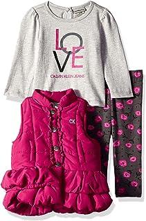Calvin Klein Baby-Girls 3 Pieces Puffer Vest Set Pants Set - Multi