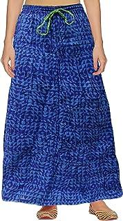 Peegli Gonna Lunga Blu Casual da Donna Indiana Indossare Quotidianamente Gonna Cucita in Cotone Disegno Astratto
