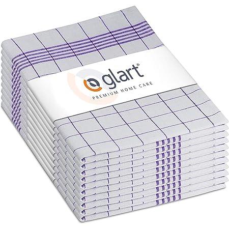 Glart (Exclusive 48KV2 Lot de 10 Torchons de Cuisine 100 Pourcent Coton Certifié Öko-Tex à Carreaux Pré-Lavés Taille Unique 50 x 70 cm, Violet-Blanc