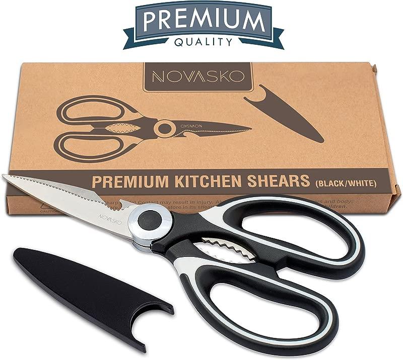 NOVASKO Premium Heavy Duty Kitchen Shears Black White