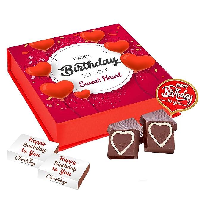 Chocoloony Happy Birthday Heart Chocolate Gift Box for Girlfriend