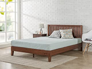 Zinus 12 Inch Deluxe Solid Wood Platform Bed with Headboard/No Box Spring Needed/Wood Slat Support/Antique Espresso Finish, King