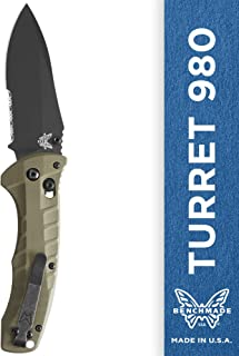 Benchmade - Turret 980, EDC Folding Knife, Drop-Point Blade, Manual Open, Axis Locking Mechanism, Made in USA, Coated, Serrated