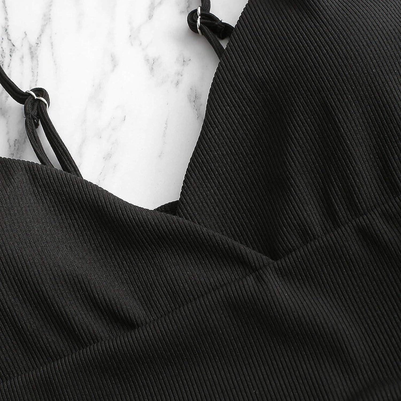 Sonojie Damen Bikini Set Triangel Bademode Zweiteiliger Einfarbig Spaghetti-Tr/äger Strandbikini Gepolstert Badebekleidung Badeanzug mit hoher Taille Tankinis Krawattenfarbstoff Badeanzug-Bikini-Set