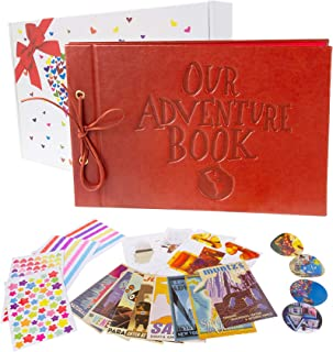 Pulaisen Our Adventure Book with Colored Gift Box- Up Scrapbook - Refillable Photo Album for Christmas Valentines Gift Birthday Wedding Anniversary Present (Leather Our Adventure Book)