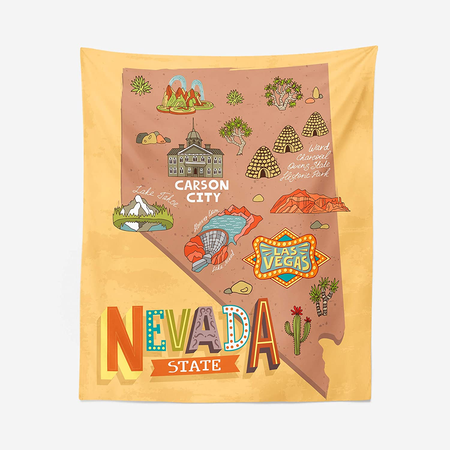 Max 74% OFF Nevada Map Tapestry - Las Vegas Carson Pictorial City Wall State Max 76% OFF