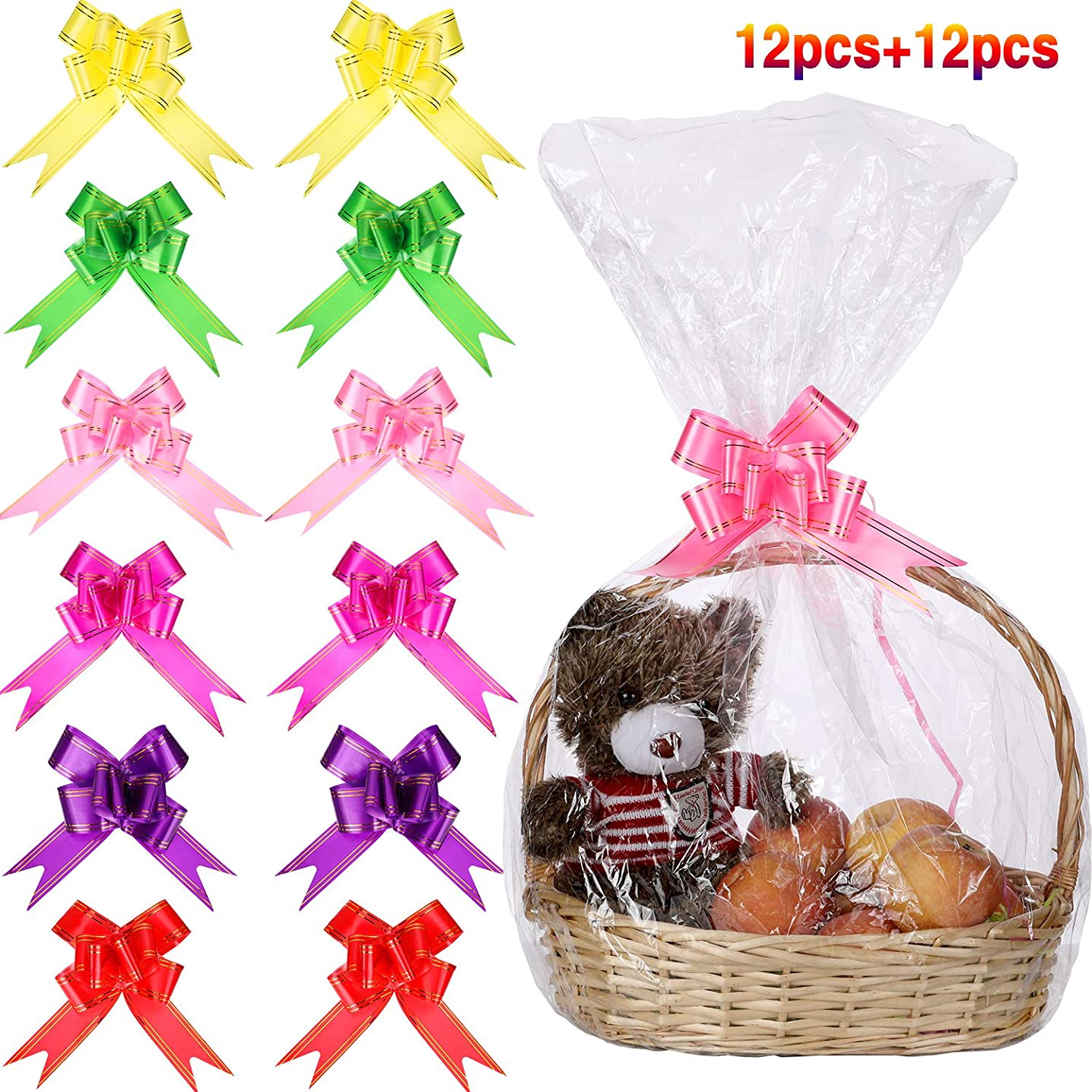 12 Pieces Clear Basket Bags Cellophane Wrap Bag and 12 Pieces Pull Bow Knot Ribbon Bows for Gift Basket Wrapping, 32 by 22 Inches