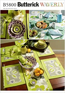 Butterick Patterns B5800OSZ Napkins, Placemats, Table Runner, Table Cloth and Flower Bowl in 3 Sizes Sewing Pattern, Size One Size