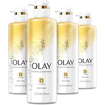 Olay Body Wash with Vitamin C and Vitamin B3, Cleansing & Nourishing, 17.9 Fl Oz (Pack of 4)
