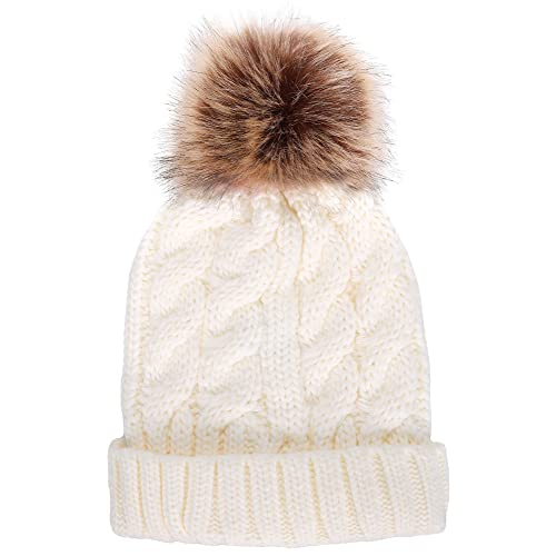 Livingston Women s Winter Soft Knitted Beanie Hat with Faux Fur Pom Pom e1d972258a2