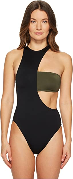 Proenza Schouler Contrast Solids Layered Bandeau High Neck One-Piece