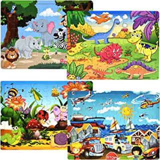 Puzzles for Kids Ages 3-5 Children Puzzles Set 40 Piece Wooden Jigsaw Puzzles for Kids Children Learning Educational Puzzle Toys for Boys and Girls (4 Theme Puzzles)