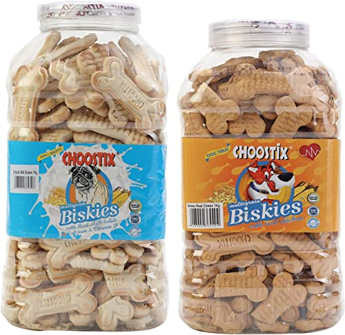 Choostix Combo of Multigrain Biskies with Real Milk Solids, 1 kg & Chicken Biskies, 1 kg