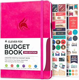 """Clever Fox Budget Book 2.0 - Financial Planner Organizer & Expense Tracker Notebook. Money Planner for Monthly Budgeting and Personal Finance. Colored Edition, Compact Size (5.3"""" x 7.7"""") - Hot Pink"""