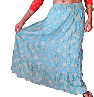 Women's Cotton Printed Free Style Long Skirt Sky Blue