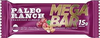 (12 Pack) PALEO RANCH 15 Grams Protein MEGA BAR, Cage Free Egg White Protein, Collagen, Non-GMO, Gluten Free, 2.54 Ounce, Cranberry Almond