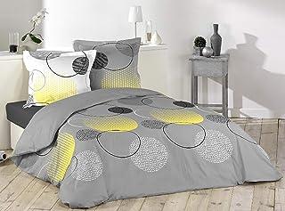 Loreto – A Quality Linen Brand 144 TC 100% Cotton Double Bedsheet with 2 Pillow Covers - Grey & Lemon Yellow