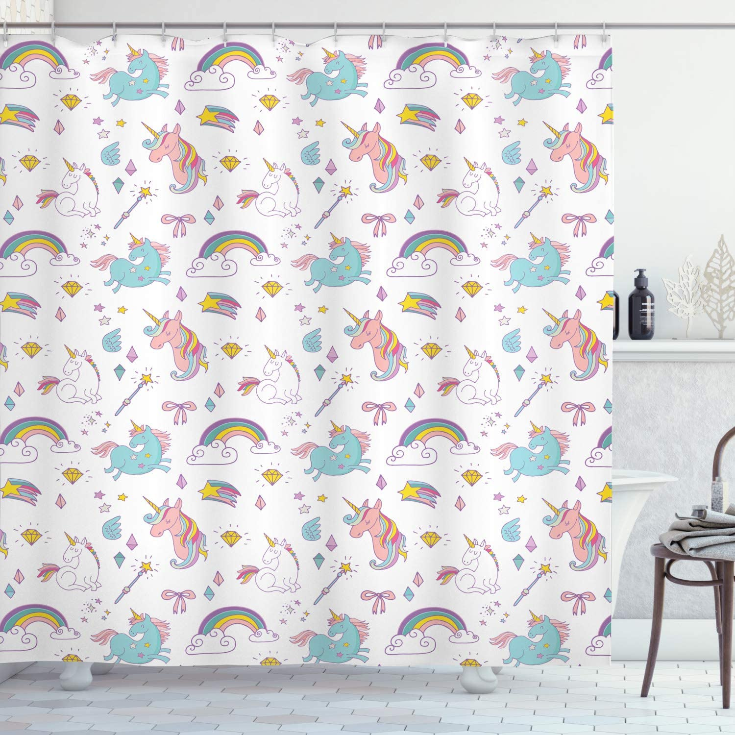 Amazon Com Ambesonne Unicorn Shower Curtain Magic Unicorn Forms With Colorful Cartoon Fantasy Cloud And Rainbow Pattern Print Cloth Fabric Bathroom Decor Set With Hooks 84 Long Extra Seafoam Home Kitchen