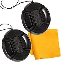 PROST 2 Pcs Center Pinch Lens Cap and Cap Keeper Leash Bundle with Microfiber Cleaning Cloth for Canon Nikon Sony DSLR Camera (67mm)