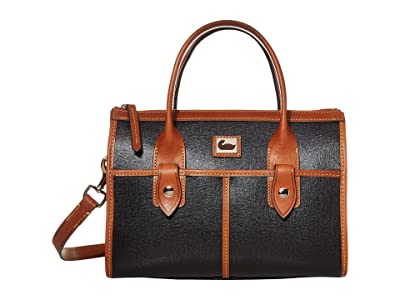 Dooney & Bourke Camden Saffiano Small Satchel (Black/Brandy Trim) Handbags