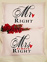 American Pillowcase Cotton Couple Mr And Mrs Pillow Cover Set Of 2 Standard Size, Pink