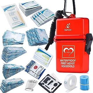 کیت کمک های اولیه ضد آب DEFTGET با ساختاری کوتاه ، با دوام ، سبک ، باند برای آسیب های جزئی هنگام اردو ، پیاده روی و زنده ماندن در فضای باز (قرمز تیره)