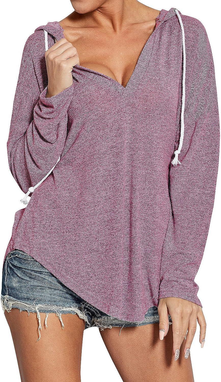 WLLW Womens Long Sleeve Deep V Neck Drawstring Sweatshirt Hoodies Tops Blouse