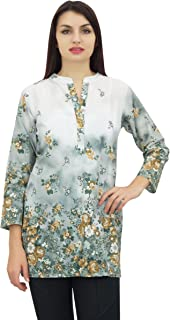Phagun Women's Floral Digital Printed Long Sleeve Tunic Casual Top