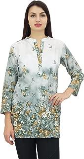 Phagun Women's Floral Digital Printed Long Sleeve Tunic Casual Top