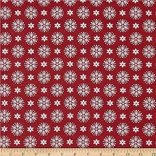 Patrick Lose Fabrics Patrick Lose Studio Santa's Stash Stacked Snowflakes Fabric, Red, Fabric By The Yard