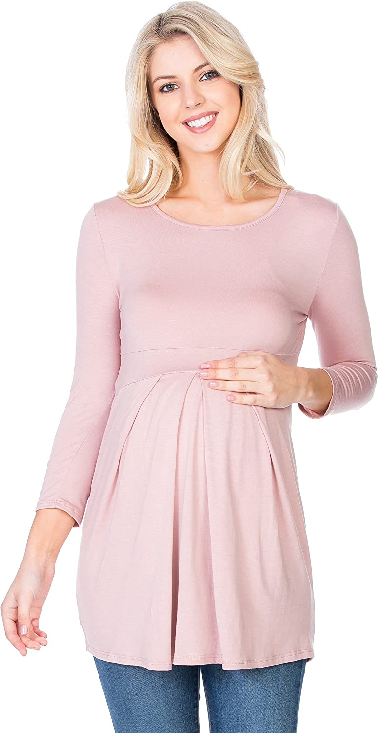 My Bump Women's Arlington Mall 3 4 SLV Front USA in Pleated Super Special SALE held Made Top Maternity