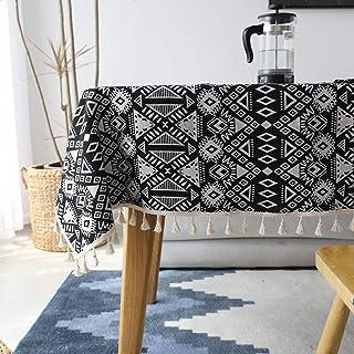 YUANYOU Tovaglia in cotone e lino, rettangolare, lavabile, geometrica, double-face, ispessita tovaglia, caffè, bar, casa, ...