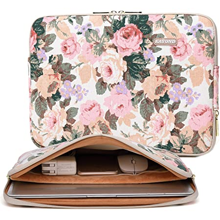 INTERESTPRINT Laptop Sleeve Bag Abstract Composition with Hearts and Floral Notebook Computer Carrying Case Cover 14 Inch 14.1 Inch