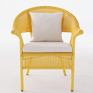 BrylaneHome Roma All-Weather Wicker Stacking Chair - Lemon