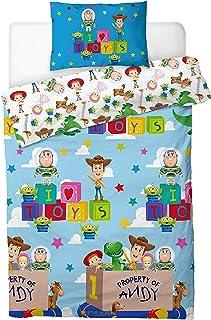 Toy Story 4 Funda Nórdica Infantil Juguetes Toy Story Woody Buzz Lightyear Jessie, Juego de Funda de Edredón + Funda De Al...