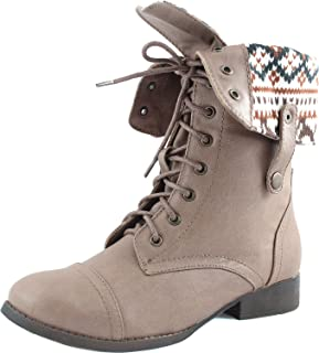 Elegant Footwear Sharper1 Lace Up Military Combat Boot Foldable Convertible Women Size S.